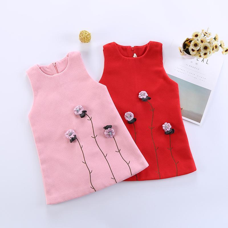 10a80967c Girls Dresses Wool Princess Flower Dress Tops Red Pink Sleeveless ...
