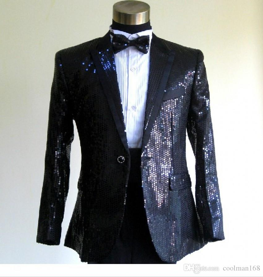 Shiny Black Sequin Groom Tuxedos Peak Lapel One Button Men Wedding Dress  Men Business Darty Sing Host Performan clothes(Jacket Pants Tie) 37