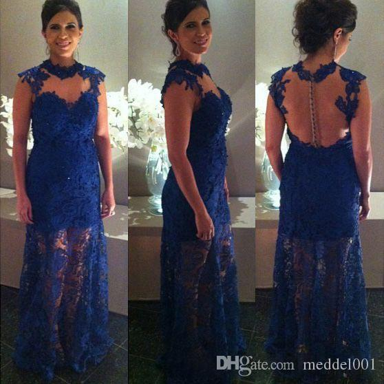 Elegant Royal Blue Mermaid Prom Dresses New Sleeveless Illusion Jewel Neck Floor Length Mother Of The Bridal Dress Evening Gowns