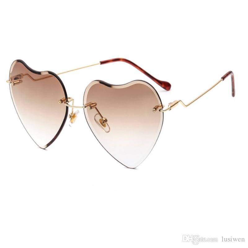 fb87480c54 2018 Trend Metal Frameless Peach Heart Sunglasses Trend Fashion Love  Sunglasses Brilliant Ocean Lens Ladies Sunglasses Sunglass Fashion 2018  Online with ...