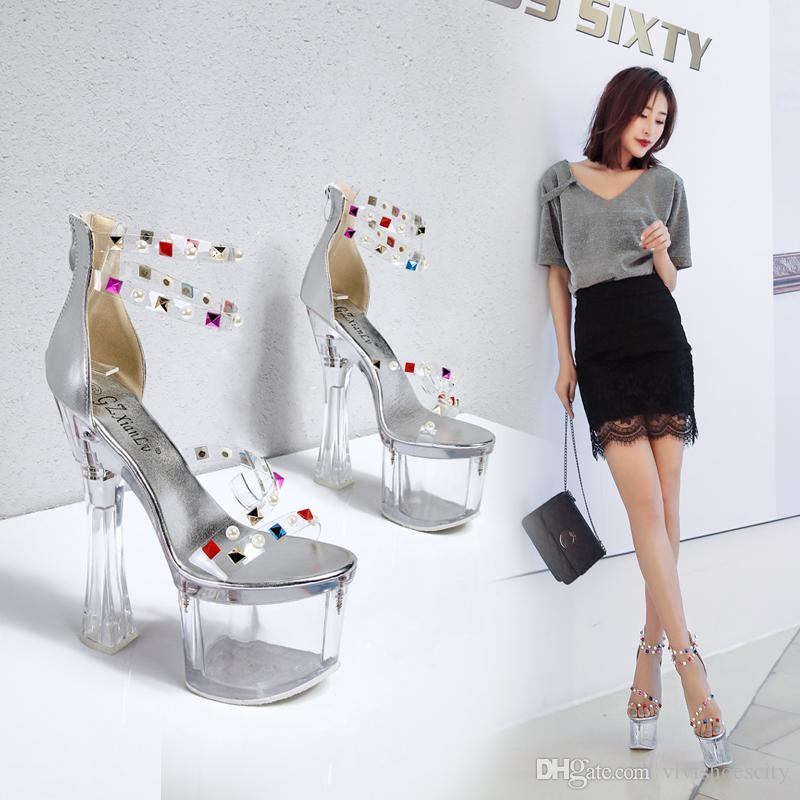 18cm Silver clear rivets transparent PVC platform ultra high heels sandals luxury designer shoes pumps size 34 to 39