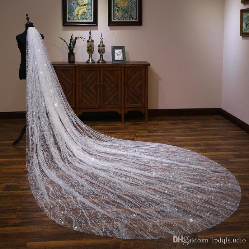 Stunning Bridal Veil Long Wedding Veil with Comb Soft Tulle with Sparkling Sequins Fancy Wedding Accessories
