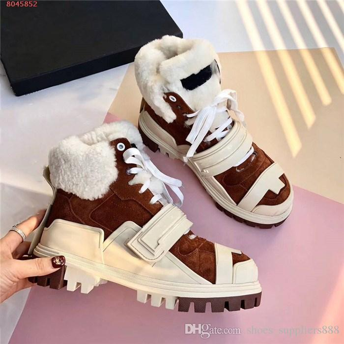 Winter classic Wool shoes,Ladies height Increasing Shoes,High-top lace-up sneakers that are thickened for warmth,With box