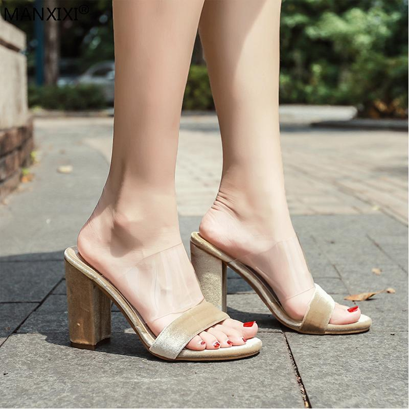 bd32ee03b3ca MANXIXI Women High Heels Slippers Shoe Slides Outside Fashion Clear Pvc  Flock Shoes Rough Heels Transparent Pumps Sexy Sandals Fringe Boots Girls  Shoes From ...