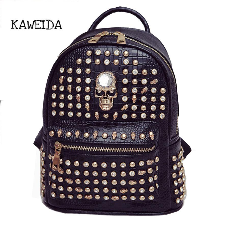 Split Leather Punk Skull Art Rivet Studded Biker Backpack Women Small  Fashion Designer Baypack Back Pack Satchel For Teens Girls Black Leather  Backpack ... f3ffb7b8b09ce