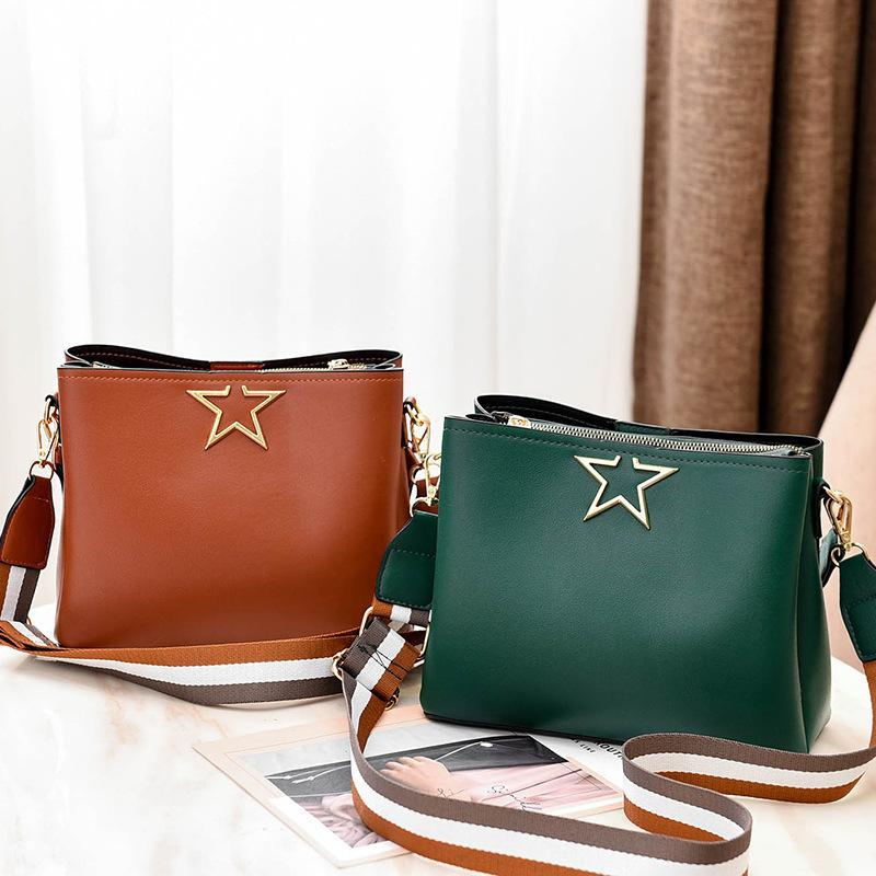 Vintage Shoulder Bag Simple Women PU Leather Handbag Solid Color Bucket Fashion Messenger Bag wide shoulder Belt Square 2019