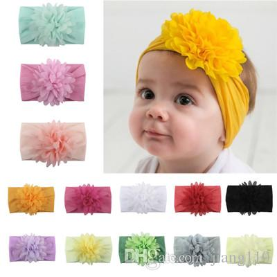 b8c66a3f5d43 Newest Baby Girl Headband Elastic Flower Bows Infant Kids Hair Accessories  With Chiffon Flowers Cute Lovely Hair Ornaments Head Bands Turban Newborn  Baby ...