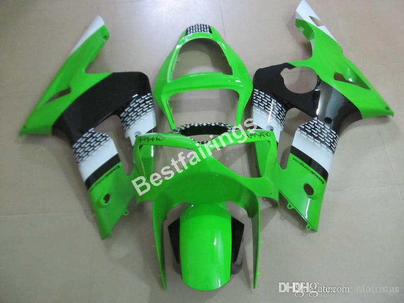 Cheap injection mold plastic fairings for Kawasaki Ninja 636 ZX6R 03 04 green black motorcycle fairing kit ZX6R 2003 2004 MT30