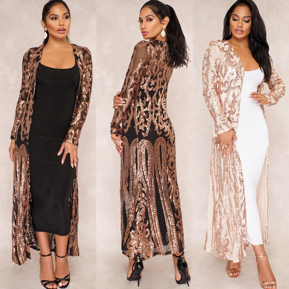Mode Femmes Paillettes Outwear Paisley Cardigan À Manches Longues See-Through Blouse Maillot De Bain Maillot De Bain