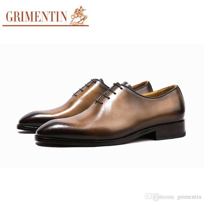 951a1aedb716 GRIMENTIN Customized Handmade Formal Mens Dress Shoes Fashion Designer Genuine  Leather Goodyear Business Wedding Oxford Mens Shoes Size 6 12 Wedges Shoes  ...