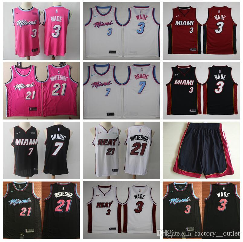 on sale 097b5 dd080 Miami Vice City Earned Edition Dwyane 3 Wade Jersey Heat Basketball Goran 7  Dragic Hassan 21 Whiteside Jerseys Short Red Black White