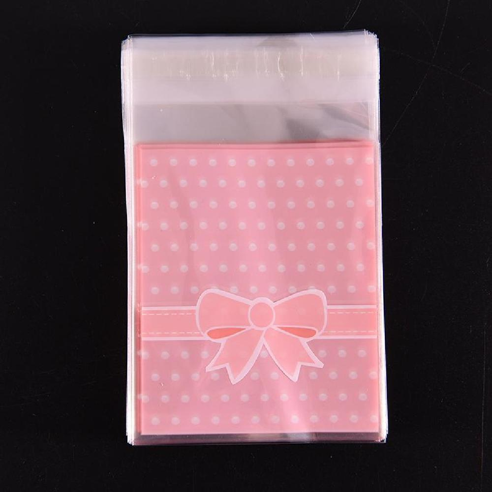 100pcs bag OPP Plastic package bag Lovely Pink or Blue Bow Design gift Packages Candy Pack paper