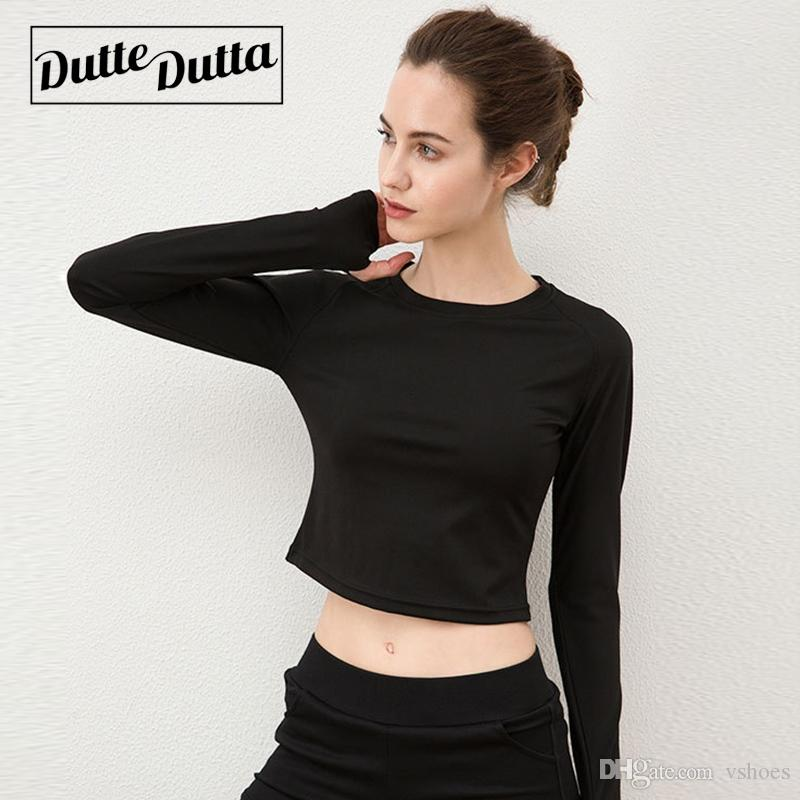 b58f49ba8fdf1 2019 Long Sleeve Gym Crop Top Sport Shirts Fitness Woman Exercise Tops  Ladies Tee Shirt Sport Femme Womens Training Blouses Jersey  74582 From  Vshoes