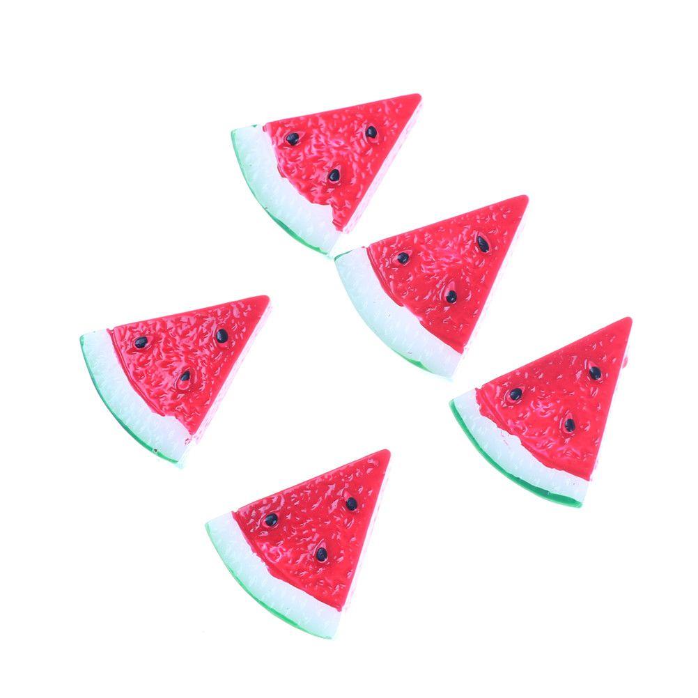 5Pcs/lot 28*14mm Flat Back Resin Cabochon Artificial Fruit Watermelon DIY Flat Back Decorative Craft Embellishment Accessories