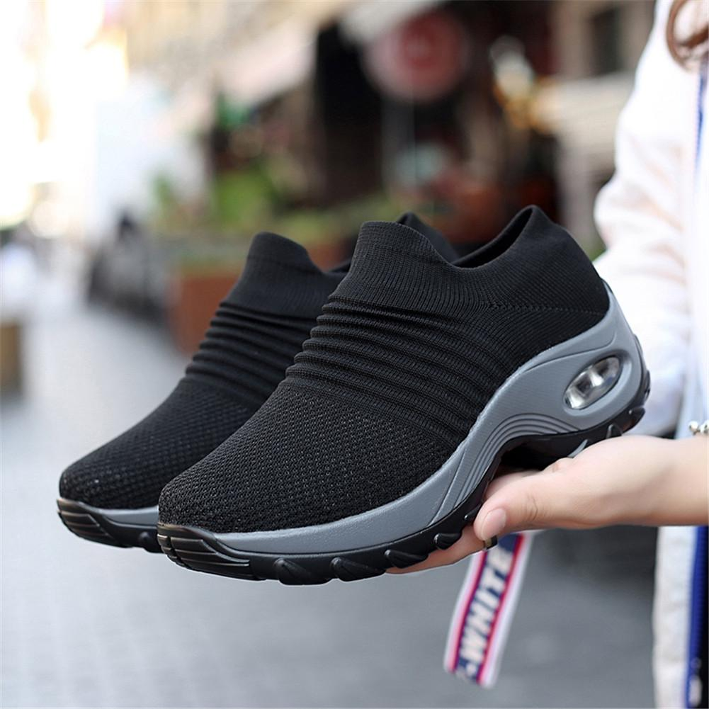 8d94bc300 Acquista YRRFUOT Scarpe Da Passeggio Da Donna 2019 Piattaforma Snekers  Donna Scarpe Sportive Slip On Lady Mocassini Air Sole Calzature Wedge  Sneaker A ...