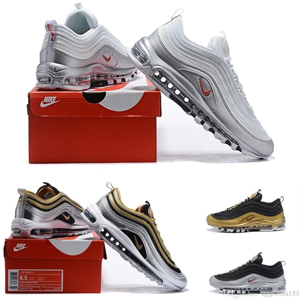 Hight Quality Air 97 Triple Black Gold Silver Metal Sneakers Running Shoes Vapors 270 Men and Women Sport Running Shoes