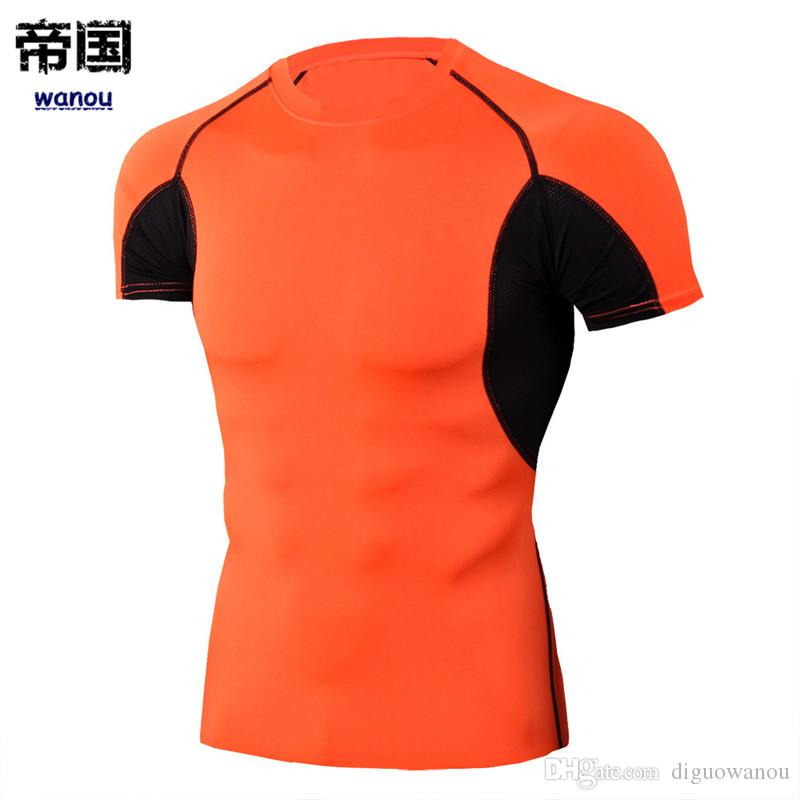 1aa8ec3aeba7f 2019 Sportswear Bodysuit Men NEW Orange T Shirts Fitness Sports Workout  Running Basketball Slim Elastic Quick Dry Breathable Activewear From  Diguowanou