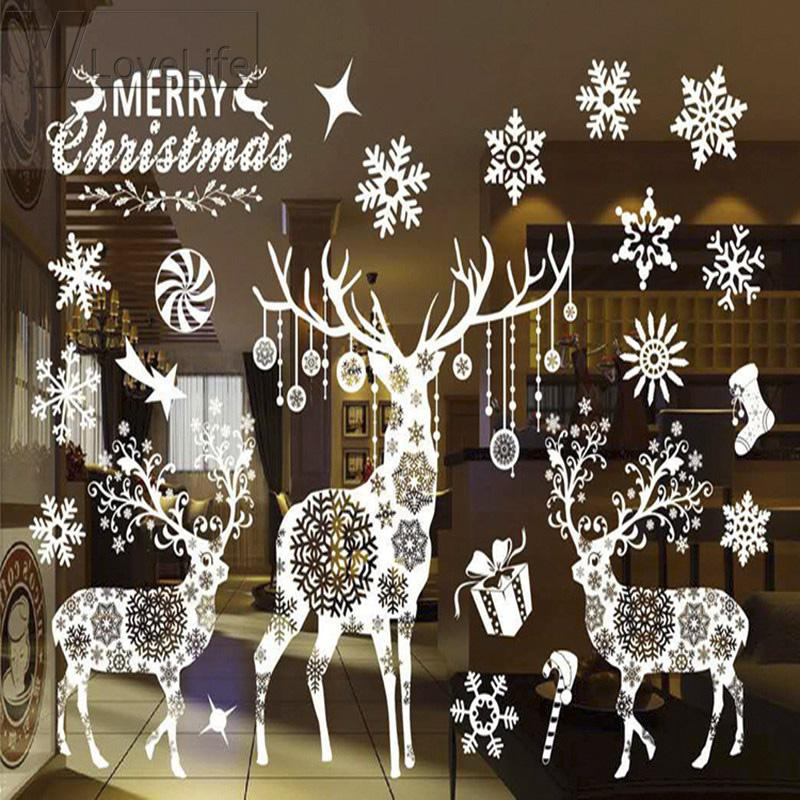 Christmas Decorative Decal Window Stickers Removable DIY Glass Wall Merry Christmas Snowflake Deer Wall Sticker Sticker