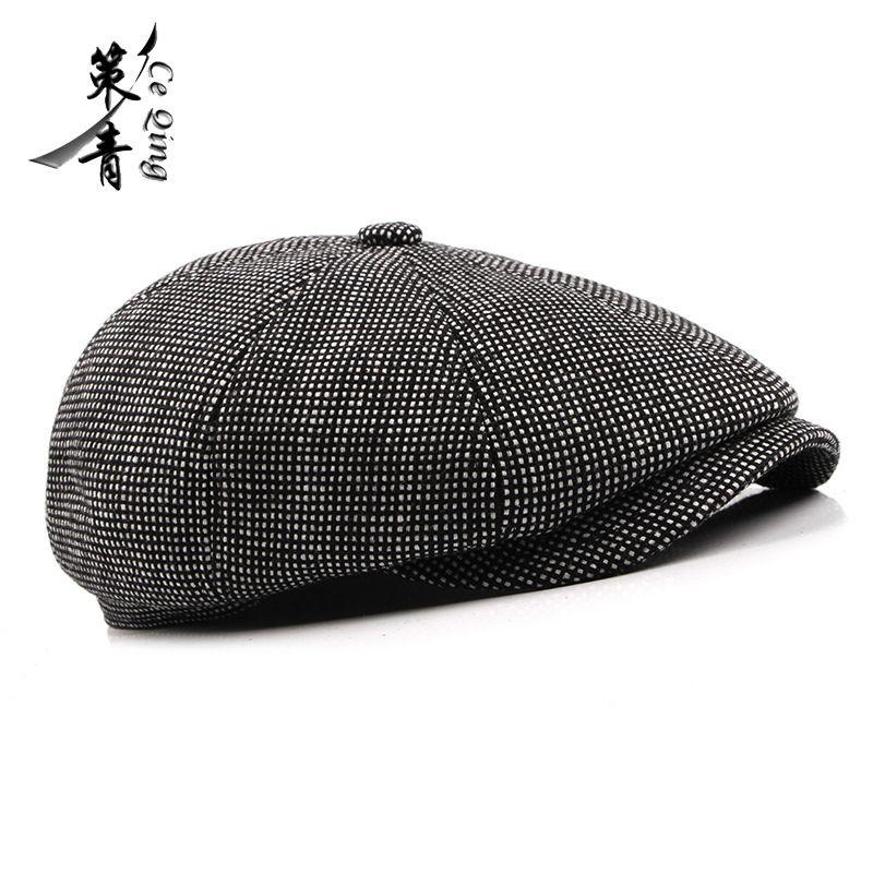 c927483feacc7 2019 2018 Winter Wool Male Beret Cap Hats With Earflap For Men ...