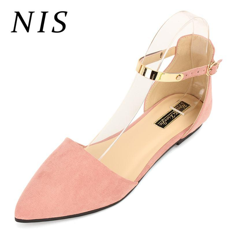 a75b953aa6 NIS Faux Suede Women Flat Shoes Women Spring Summer Pointed Toe Ankle  Buckle Strap Flats Ladies Casual Shoes Ballet Flats New White Shoes Wedges  Shoes From ...