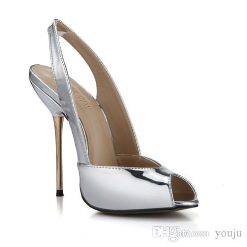 Patent Sexy Women Party Pumps Peep Toe Stiletto Iron High Heel Slingback  Ladies Shoe Escarpins Talons Femmes 3845 G4 Womens Shoes Shoes For Women  From Youju ... fe8be3b1984b