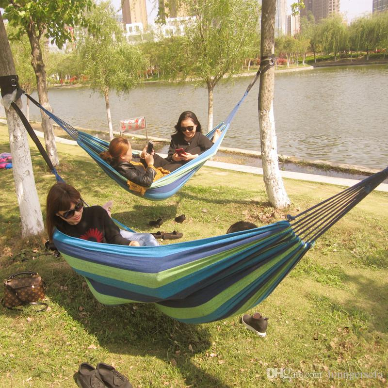 The Elderly Leisure Time Hammock Outdoors Camp Travel Durable Widen Rainbow Stripe Canvas Swing Anti Wear Factory Direct 10kkI1