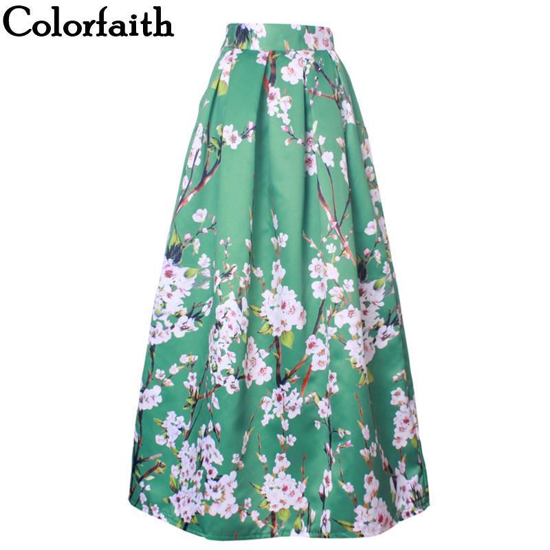 8cfca5283a57 Vintage Muslim Women 100cm Long Maxi Skirt Fashion Pleated Floral ...