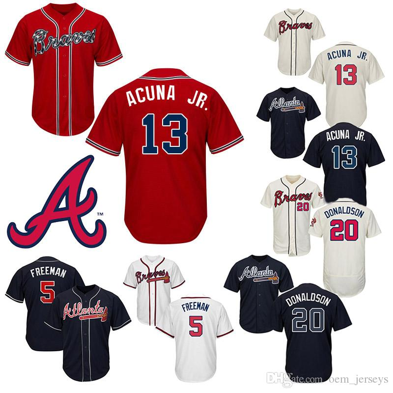 premium selection 21d18 1fa73 Atlanta Baseball Jerseys Braves Ronald 5 Freddie Freeman 13 Ronald Acuna  Jr. 20 Josh Donaldson Customed Jeseys