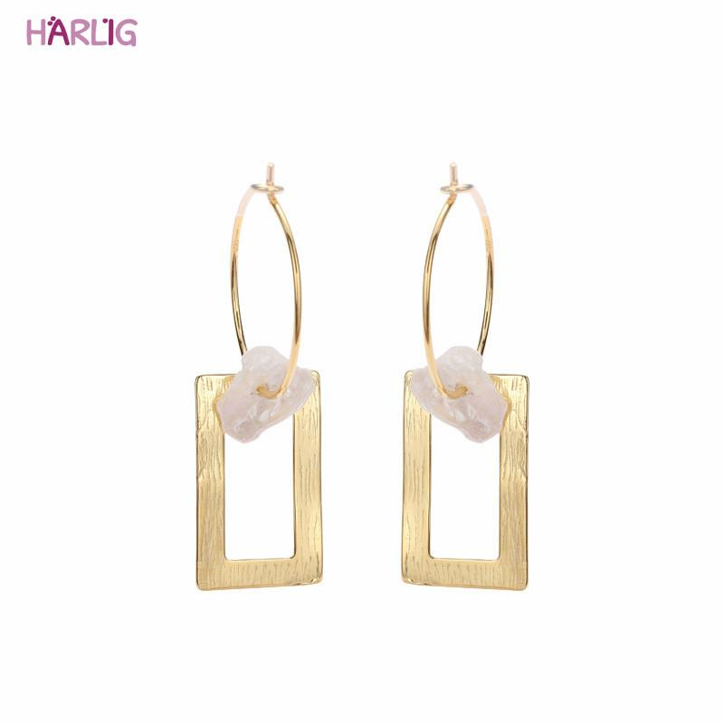 Harlig sterling silver 925 gold color earrings with imitation pearl for women allergy free fashion jewelry free shipping