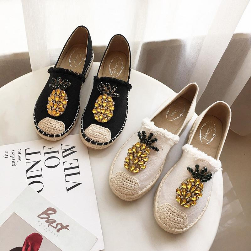 2019 New Women Espadrilles Flats Crystal Pineapple Fisherman Shoes Ladies  Fashion Rhinestone Loafers Slip On Single Shoes S Shoes For Men Sports Shoes  From ... 68dd5851bf14