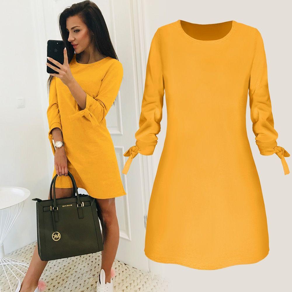 5116f2ef723 Acheter 2019 Femmes Printemps Nouvelle Mode Solide Couleur Robe Casual O Cou  Lâche Robes Manches 3 4 Arc Élégant Plage Femme Vestidos Plus La Taille De  ...