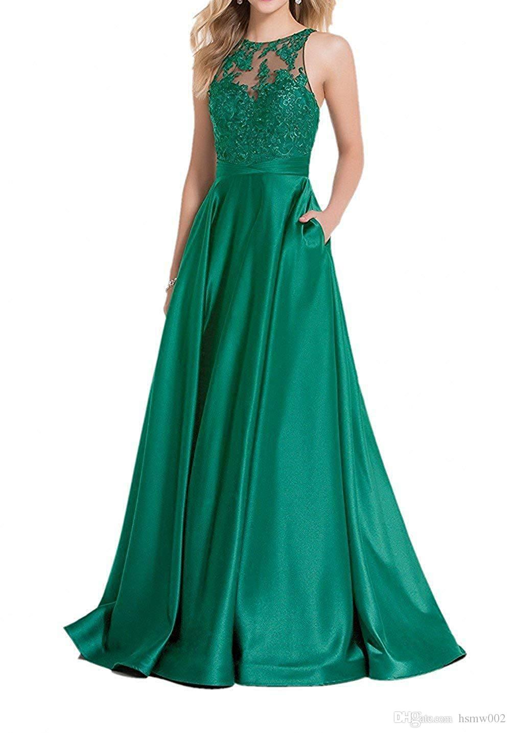 Elegant Lace Appliques Tops Prom Gown Satin A-line Floor Length Formal Evening Dresses with Pockets Custom Made
