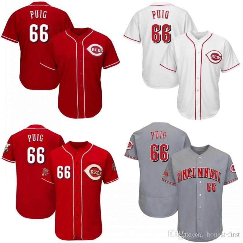 2019 66 Yasiel Puig Cincinnati Jersey Reds Embroidery Men S Majestic  Alternate White Red Grey Official Cool Base Player Baseball Jeyseys From  Honest First b66f2fb8d5c