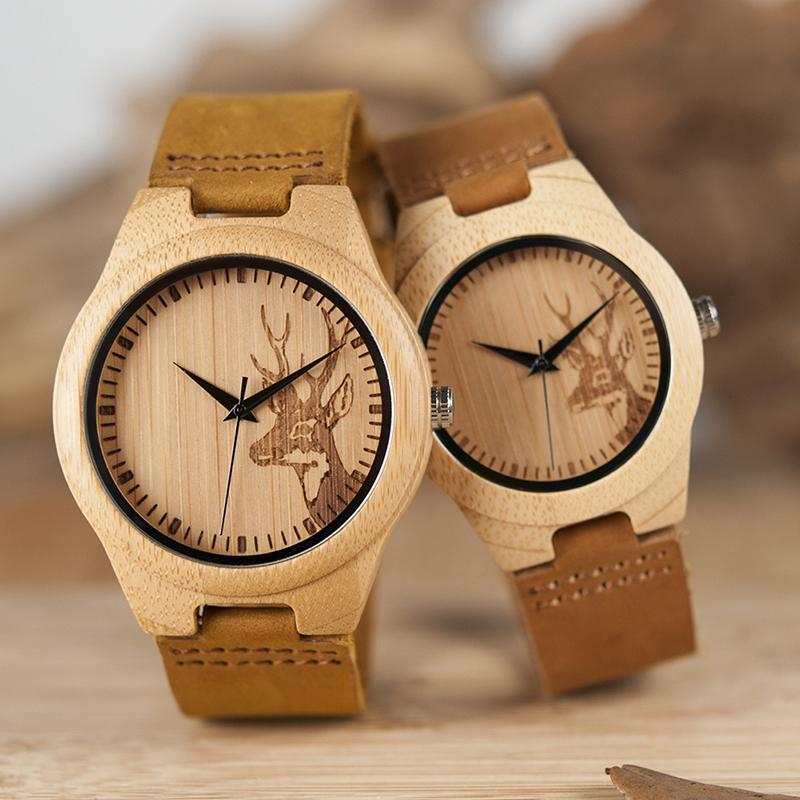 a8b1006d9 Couple Watch Men Women Gender Quartz Leather Wood Bamboo Wristwatch for  Lover s Gift Customize Logo Watches OEM Lady Clock