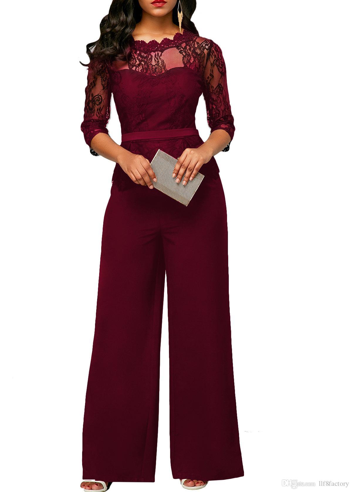 Yeni tasarım seksi ince dantel tulum rahat moda perspektif yuvarlak boyun yarım kollu tulum büyük boy ziyafet tulum 9079