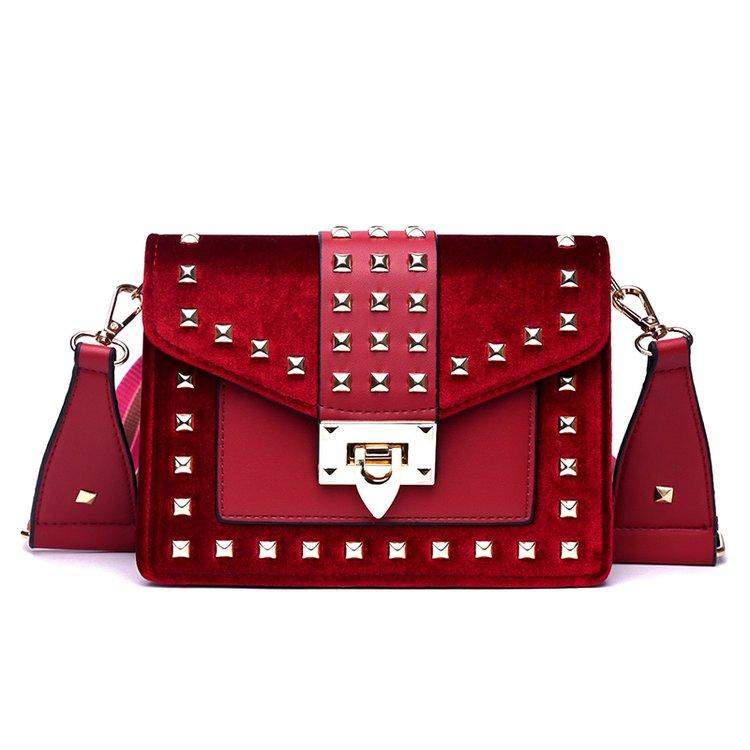 Designer- Vintage Rivet PU Leather Handbag Brand Star Shoulder Strap Hand Bag for Women 2019 Designer Luxury Ladies Crossbody Clutch Bag