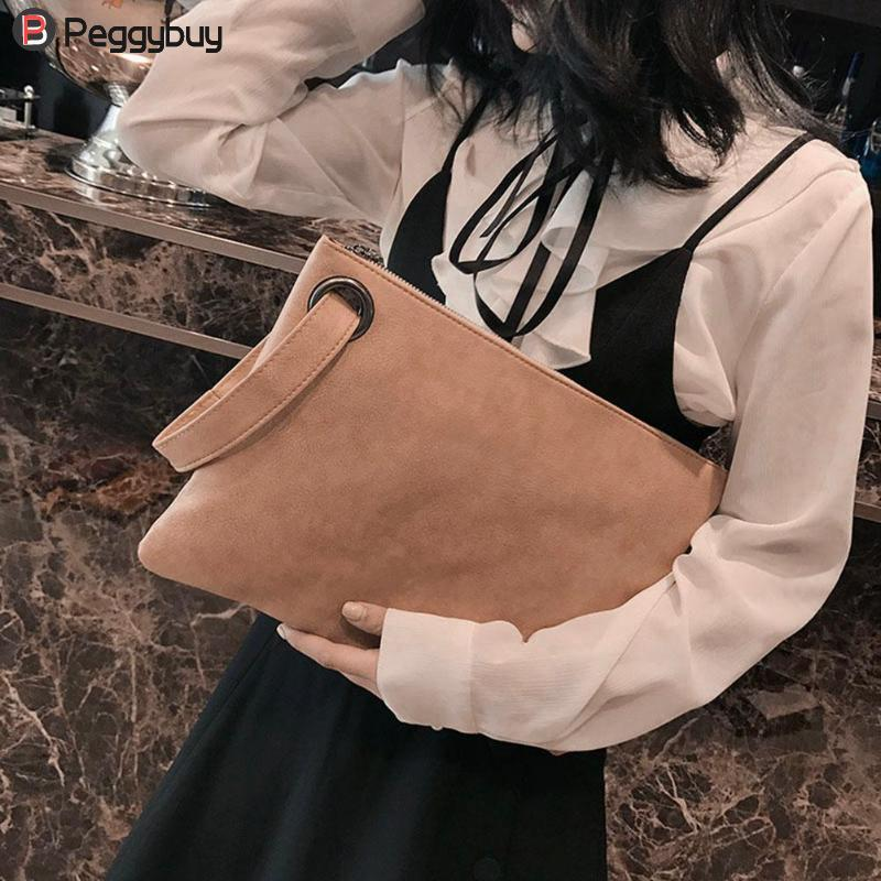 Elegant Women Scrub Leather Clutch Lady Wristlets Simple Large Capacity Pure Color