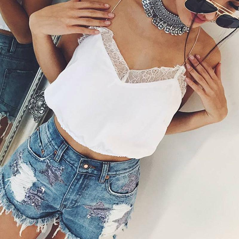 High Summer Women Sexy Vest Camisole V Neck Lace Patchwork Camis Spaghetti Strap Casual Tank Crop Tops DSM