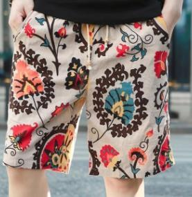 9ce1f4d3d8fef8 Mens Floral Printed Beach Shorts Linen Casual Comfortable Male Hommes  Holiday Half Shorts