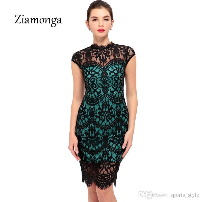 26d48283d2d99 Ziamonga Elegant Women Short Sleeve Stretchy Bodycon Dress Sexy Cocktail  Party Casual Lace Dress Vestido De Renda Women Dresses #396078