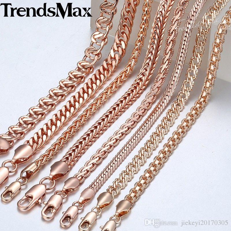 f698e295328e9 Trendsmax Necklace for Women Men 585 Rose Gold Curb Snail Foxtail Link  Chain Gold Necklace 2018 Fashion Jewelry 50cm 60cm GNN1