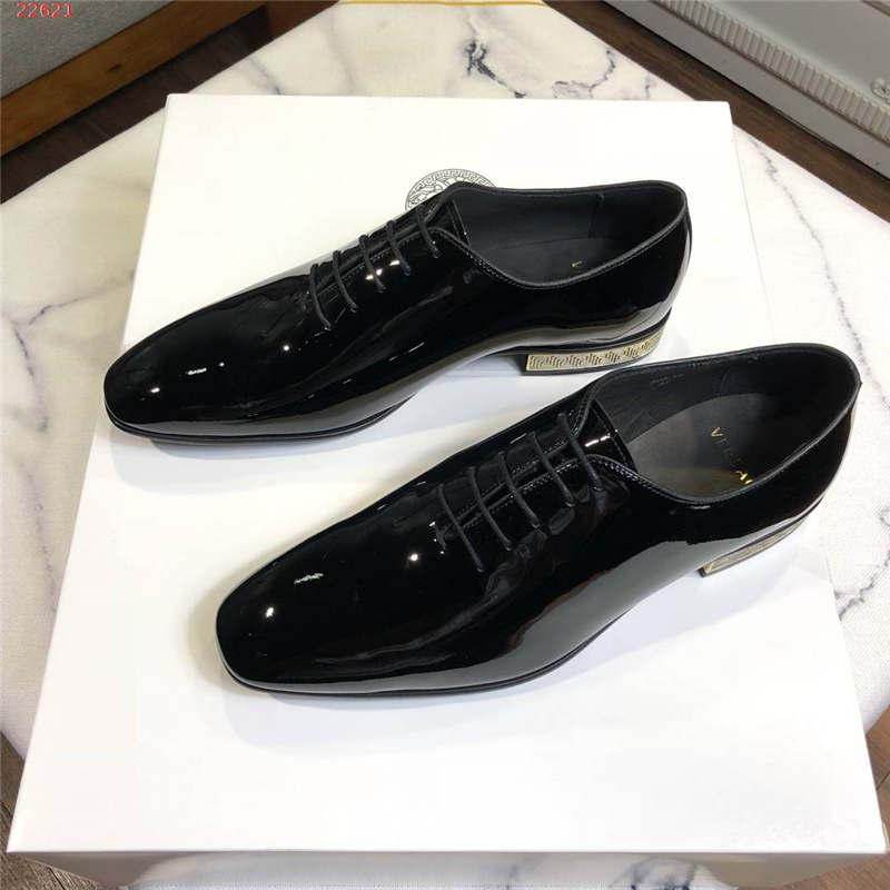 Classic Men Black Leather Business dress shoes, Shiny patent leather shoes for Fashion Men Size 38-44,Hot sale in ZM43
