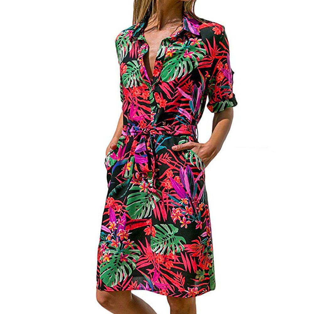 056b62546f9b Casual Dress Shirt Dress Chiffon Turn Down Collar Long Sleeve Button A Line  Print Floral Dress Vestido Midi Dress For Womens White Summer Dresses For  ...