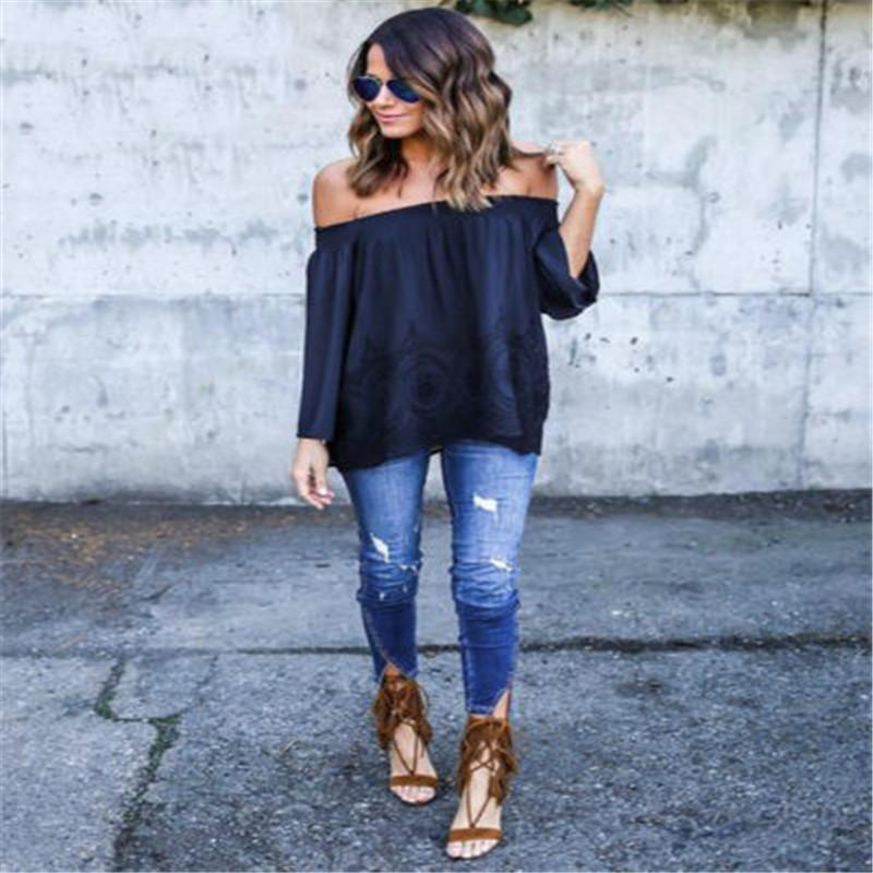 Trendy Women clothes Off Shoulder pullover Geometry cotton Tops Long Sleeve Casual Loose T-shirts one pieces
