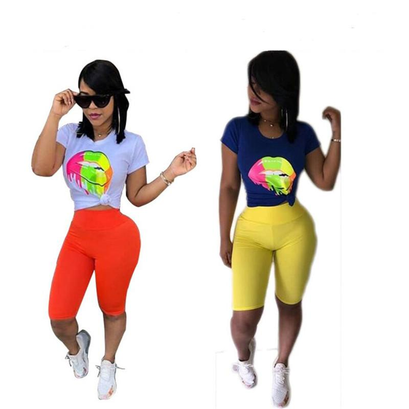 Big Lips Women Tracksuit T-Shirt Tops + Shorts Pants 2pcs Set Summer Sport Suit Ladies Casual Outfits Sportswear Fitness Gym Suits A32803