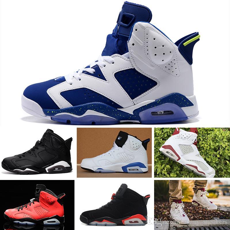 new style 7cfbe a2316 Compre Nike Air Jordan 1 4 6 11 12 13 Retro Diseñador De Hombres 6 6s  Zapatos De Baloncesto Tinker UNC Azul Negro Gato Blanco Infrarrojo Carmín  Maroon Toro ...