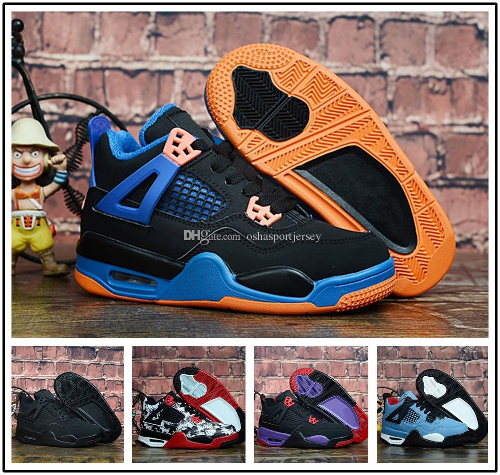 super popular 9a6e8 78da3 Compre Nike Air Jordan Aj4 Zapatillas De Baloncesto Kids 4 NRG Raptors  Niños Travis Scott X 4s Cactus Jack Puro Dinero Royalty Black Cat Niños  Zapatillas ...