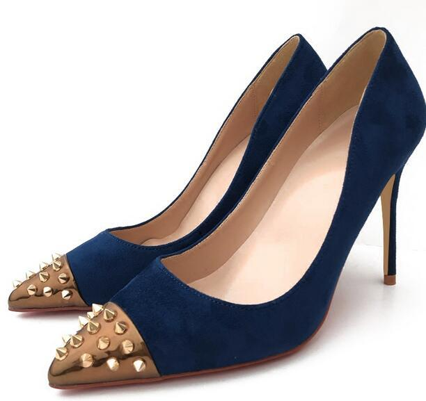 371883f3b7e New Style Women Rivet Red Bottom Shoes Tibetan-blue Suede Pointed ...