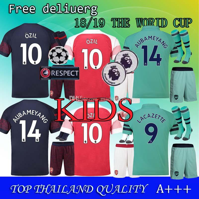 f181c7b3d 2019 18 19 KIDS+SOCKS ArsENal Jersey De Fútbol Niños KIT 2018 2019 KIDS  OZIL AUBAMEYANG RED Home Kit 18 19 Kids Kit From Madridjersey