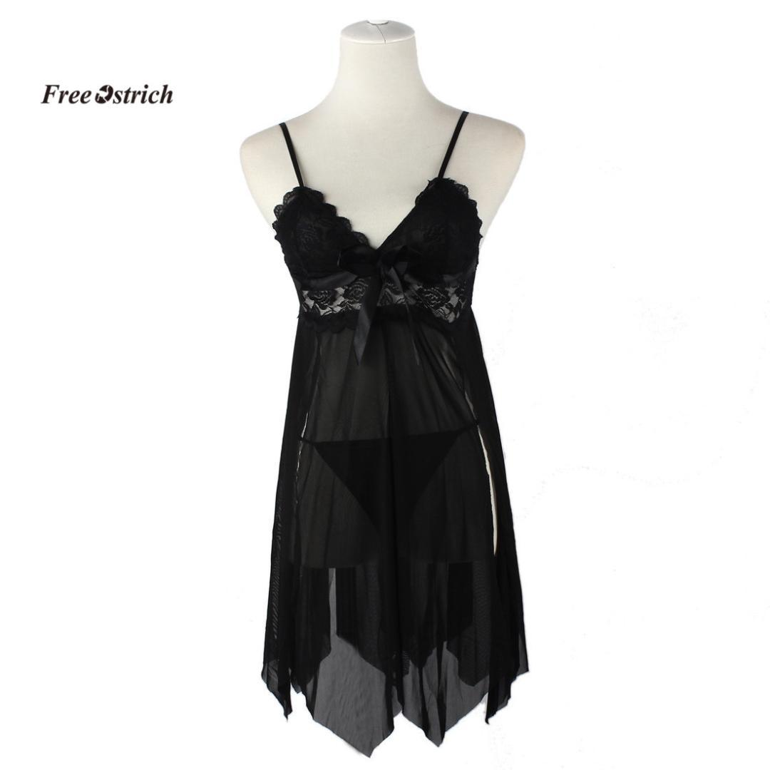 Free Ostrich Clothes Sexy Lingerie Women Underwear Sleepwear Lace Dress G-string Nightwear BK sexy underwear women black dress